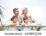 portrait of happy family of... | Shutterstock . vector #610893236