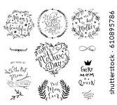 mothers day lettering...   Shutterstock .eps vector #610895786