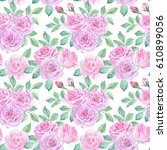 watercolor flower pattern | Shutterstock . vector #610899056