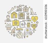 veterinary medicine round... | Shutterstock .eps vector #610900106