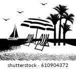 vector illustration. sea and... | Shutterstock .eps vector #610904372