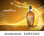 serum essence with dropper on... | Shutterstock .eps vector #610911422