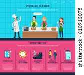 colorful cooking classes web... | Shutterstock .eps vector #610913075