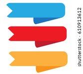 three ribbon banner on white... | Shutterstock .eps vector #610913612