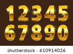 set of gold numbers.vector... | Shutterstock .eps vector #610914026