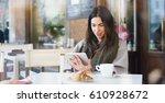 one morning a beautiful elegant ... | Shutterstock . vector #610928672