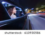 woman sitting in a moving car ...   Shutterstock . vector #610930586