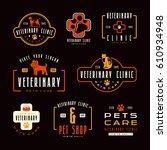 set of veterinary clinic labels.... | Shutterstock .eps vector #610934948