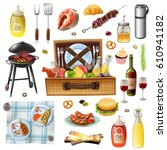 family picnic barbecue grill... | Shutterstock .eps vector #610941182