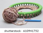 process of knitting a scarf... | Shutterstock . vector #610941752