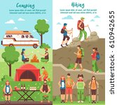 camping hiking vertical banners ... | Shutterstock .eps vector #610942655