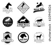 Stock vector racing horse running mare vector vintage logos and labels set emblem with horse stallion 610945826