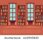 modern library empty interior... | Shutterstock .eps vector #610945835