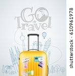 color plastic travel bag with... | Shutterstock .eps vector #610961978