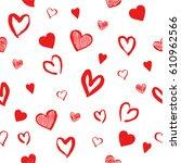 seamless hand drawn red heart... | Shutterstock .eps vector #610962566