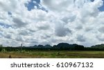 clouds on blue sky in summer day | Shutterstock . vector #610967132