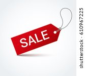 red sale label with white... | Shutterstock .eps vector #610967225