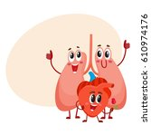 funny  smiling human lungs and... | Shutterstock .eps vector #610974176