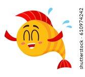 cute  funny golden  yellow fish ...   Shutterstock .eps vector #610974242