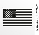usa flag icon. black and white... | Shutterstock .eps vector #610977002