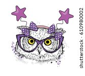 funny owl in the glasses and... | Shutterstock .eps vector #610980002