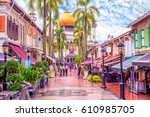 Street View Of Singapore With...