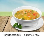 soup on the plate. | Shutterstock . vector #610986752
