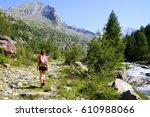 mountain walking in a beautiful ... | Shutterstock . vector #610988066