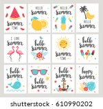 set of summer holiday cards.... | Shutterstock .eps vector #610990202