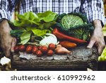 organic vegetables. farmers... | Shutterstock . vector #610992962