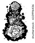 vector black and white peony... | Shutterstock .eps vector #610996436