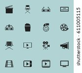 set of 16 editable movie icons. ... | Shutterstock .eps vector #611005115