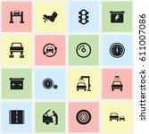 set of 16 editable vehicle... | Shutterstock .eps vector #611007086