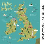 illustration map of britain and ... | Shutterstock .eps vector #611010332