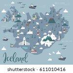 illustration map of iceland... | Shutterstock .eps vector #611010416