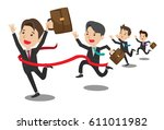 businessman crossing finish line | Shutterstock .eps vector #611011982