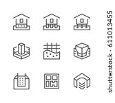 set line icons of house... | Shutterstock .eps vector #611013455