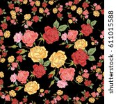 colorful roses. flowers... | Shutterstock . vector #611015588