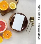 composition of the blank paper... | Shutterstock . vector #611017682
