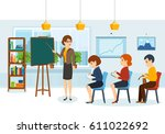 speaker conducts training and... | Shutterstock .eps vector #611022692
