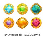 fantasy golden amulets set.... | Shutterstock .eps vector #611023946