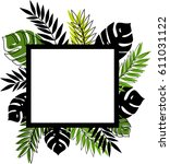 palm graphic leaves background. ... | Shutterstock .eps vector #611031122
