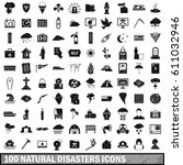 100 natural disasters icons set ...