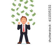 dollars raining down on... | Shutterstock .eps vector #611035232