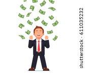 dollars raining down on... | Shutterstock .eps vector #611035232