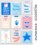 set of vector summer cards with ...   Shutterstock .eps vector #611035706