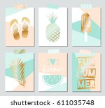 set of six vector summer cards... | Shutterstock .eps vector #611035748