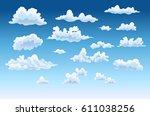 cartoon clouds set on blue sky... | Shutterstock .eps vector #611038256