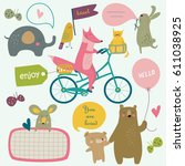 vector illustration of cute... | Shutterstock .eps vector #611038925