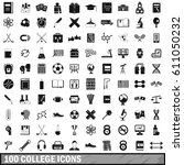 100 college icons set in simple ... | Shutterstock .eps vector #611050232
